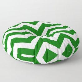 Pakistan green - green color - Zigzag Chevron Pattern Floor Pillow
