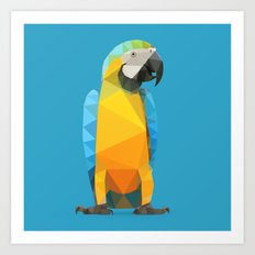 Low Poly Blue and Gold Macaw Art Print