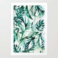 paradise Art Prints featuring Green Tropical paradise  by Nikkistrange
