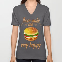 Cheeseburger Addict Cheeseburgers Make Me Happy Unisex V-Neck