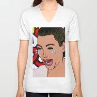 kardashian V-neck T-shirts featuring Kim Lichenstein by Fake Wealth