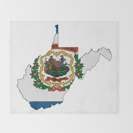 West Virginia Map with State Flag Throw Blanket