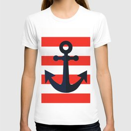 Simple anchor on red T-shirt