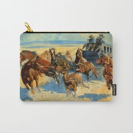 """Frederic Remington Western Art """"Downing the Nigh Leader"""" Carry-All Pouch"""