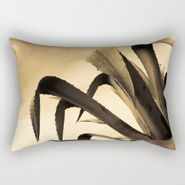 Giant Sepia Aloe Cactus Plant Photograph Art Print Rectangular Pillow
