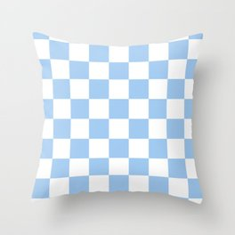Checkered - White and Baby Blue Throw Pillow