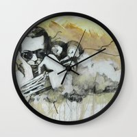 miles davis Wall Clocks featuring Classic Material Series - Miles' Reign (c.2006) by Craig A. Hamilton