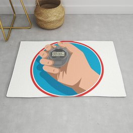 Hand Holding Digital Stopwatch Retro Style Rug