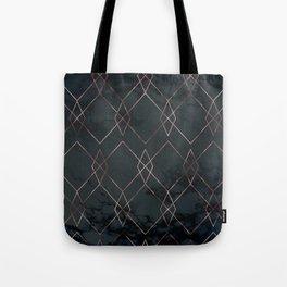 Modern Deco Rose Gold and Marble Geometric Dark Tote Bag