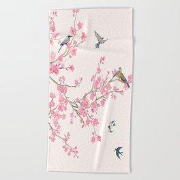 Birds and cherry blossoms Beach Towel