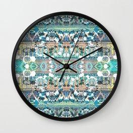 Decorative ethnic stripes and petals Wall Clock