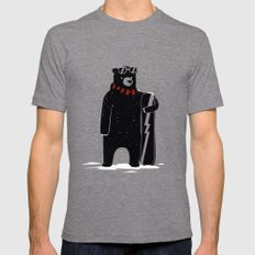 Bear on snowboard LARGE Tri-Grey Mens Fitted Tee