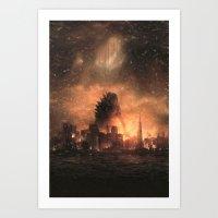 godzilla Art Prints featuring Godzilla by crayonide