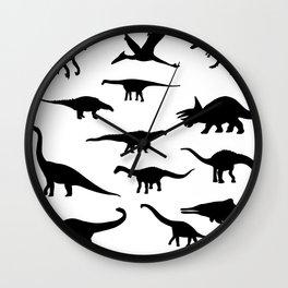Black and white dinosaurus pattern Wall Clock