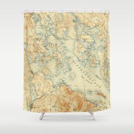 Vintage Map of Lake Winnipesaukee (1907) Shower Curtain