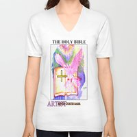 bible V-neck T-shirts featuring THE HOLY BIBLE by KEVIN CURTIS BARR'S ART OF FAMOUS FACES