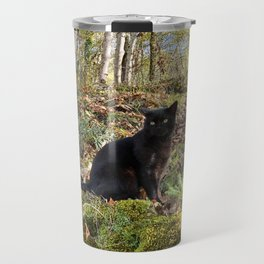 black cat in the forest Travel Mug