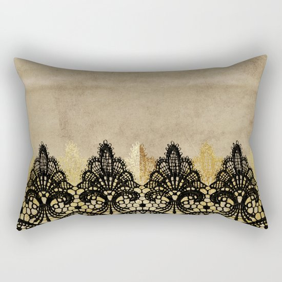 Elegance- Ornament black and gold lace on grunge paper backround Rectangular Pillow