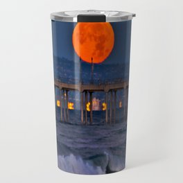 Christmas Moonset Huntington Beach Pier  12/25/15 Travel Mug