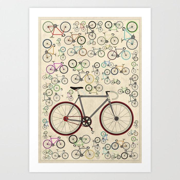 Love Fixie Road Bike Kunstdrucke