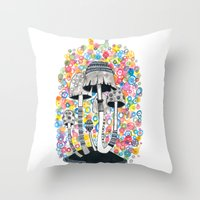 mushrooms Throw Pillows featuring Mushrooms by Asja Boros