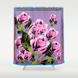 Pink -Black Color  Roses  Lavender Garden Pattern Blue Art Shower Curtain