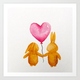 There's the two of us now ~ Valentine's Day Rabbits Art Print