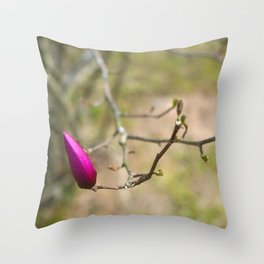 Pink Japanese magnolia bud Throw Pillow