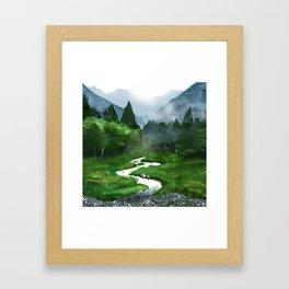 Forest River Illustration  Framed Art Print