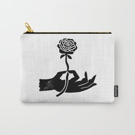 Linocut hand with flower minimal modern black and white decor gifts Carry-All Pouch