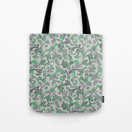 Green ivy with grey ornament on beige background Tote Bag