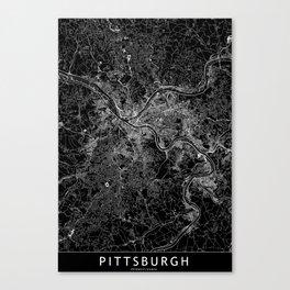 Pittsburgh Black Map Canvas Print