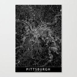 Pittsburgh Black Map Canvas Print