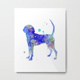 Bluetick Coonhound Dog Watercolor Painting Metal Print