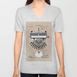 patent art type writing machine Unisex V-Neck