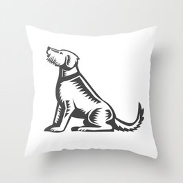 Welsh Terrier Sitting Woodcut  Throw Pillow