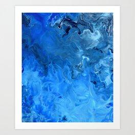 Blue Water Flow Acrylic Art Art Print
