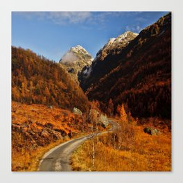 Fall in the mountains with a winding road Canvas Print