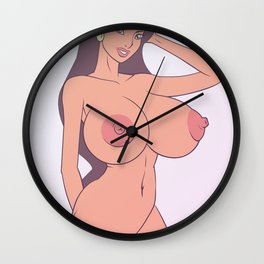 sexy boobs girl chick hot nasty tits nude naked bed mouth skirt hair wow Wall Clock