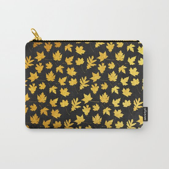 AUTUMN - gold leaves on chalkboard background Carry-All Pouch
