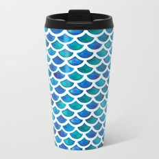 Blue Mermaid Scales Metal Travel Mug