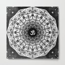 BLACK AND WHITE OM MANDALA Metal Print
