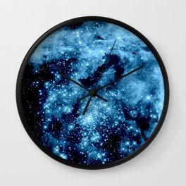 Blue Galaxy Nebula Wall Clock