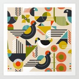 Bauhaus style birds Art Print