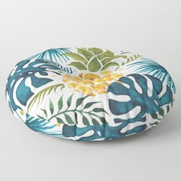 Golden pineapple on palm leaves foliage Floor Pillow