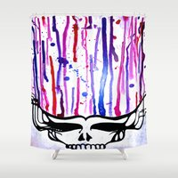 grateful dead Shower Curtains featuring One of a Kind Grateful Dead Head Painting  by VibrationsArt