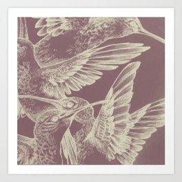 Pink HummingBirds Art Print