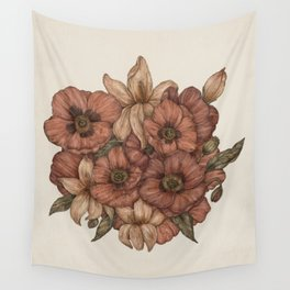 Poppies and Lilies Wall Tapestry