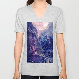 Galaxy Mountains : Deep Pastels Unisex V-Neck