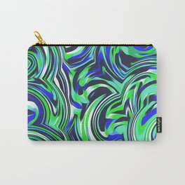 psychedelic wave pattern abstract painting in green and blue Carry-All Pouch